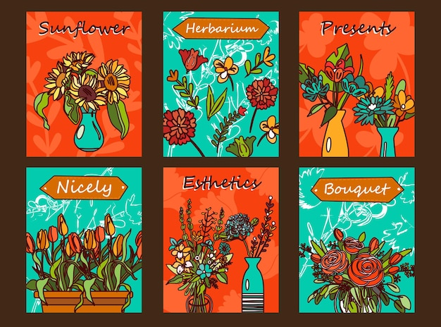 花のチラシセット。花瓶、チューリップ、バラのイラストの束とオレンジと緑の背景にテキスト。 無料ベクター