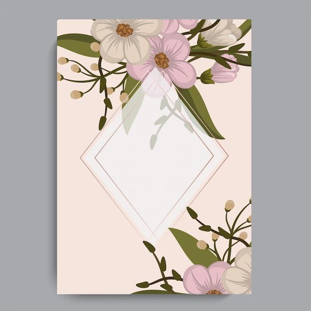 Flowers frame template. vector illustration. Premium Vector