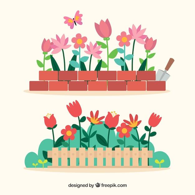 Flowers in the garden Premium Vector