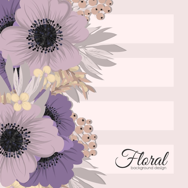 Flowers greeting card template. Premium Vector