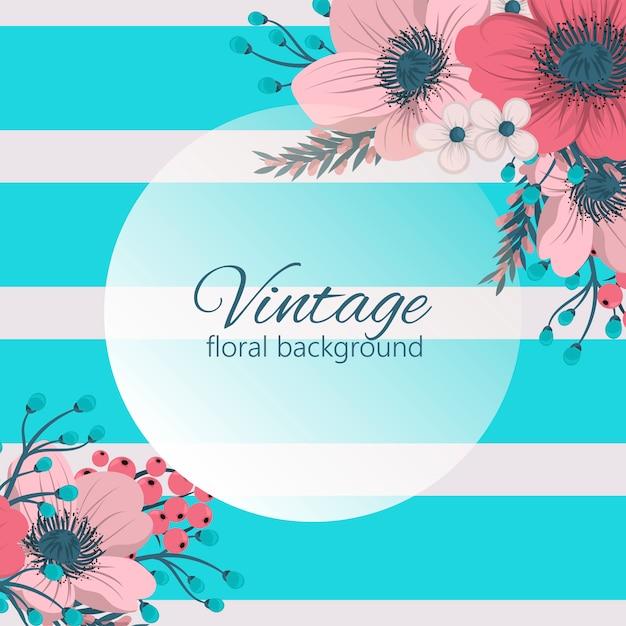 Flowers greeting card template. Premium Vector