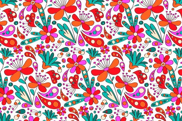 Modello groovy disegnato a mano di fiori Vettore gratuito