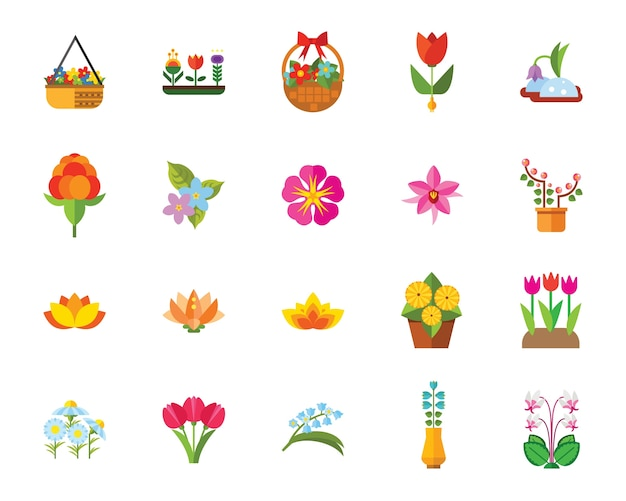 Flowers icon set Free Vector