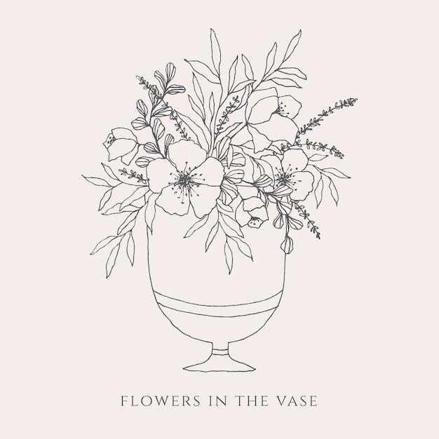 Flowers In A Vase Illustration Vector Premium Download