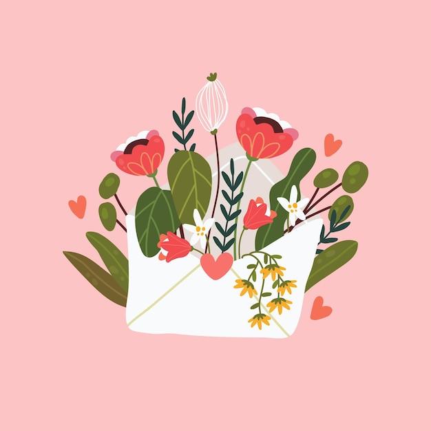 封筒の花。花のメール。幸せなバレンタインデー Premiumベクター