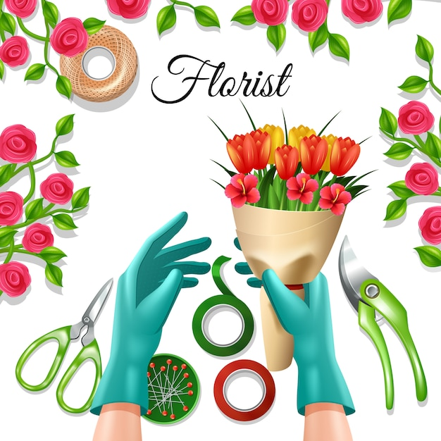 Flowers in bunch with florist equipment and\ tools tulip and rose