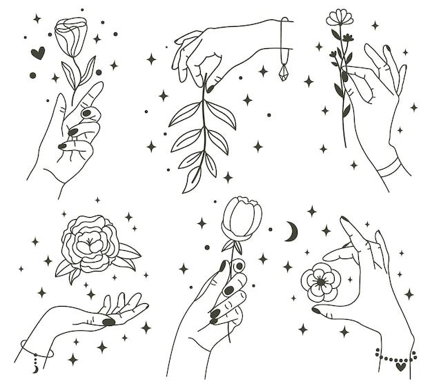 마법의 손에 꽃. 아름다운 꽃을 들고 유행 선형 최소한의 스타일 손. 프리미엄 벡터