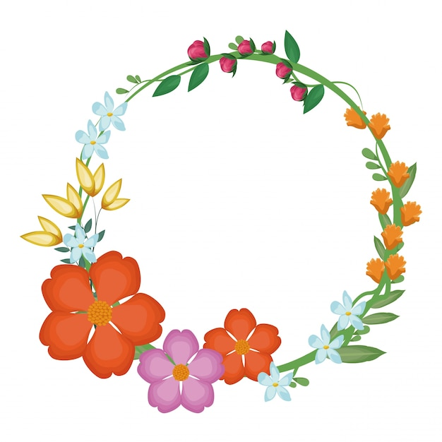 Flowers leaves crown decoration Premium Vector