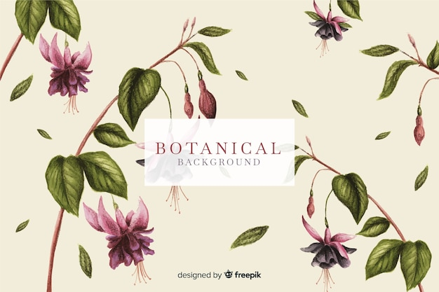 Flowers and leaves vintage background Free Vector