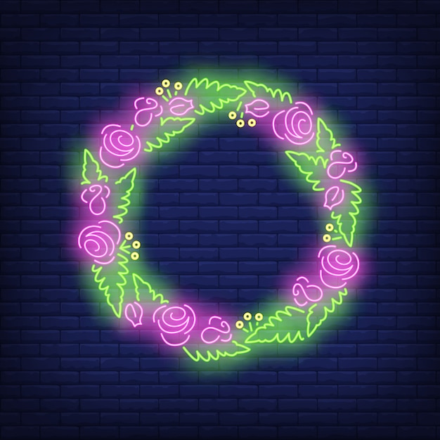 Flowers and leaves wreath neon sign Free Vector