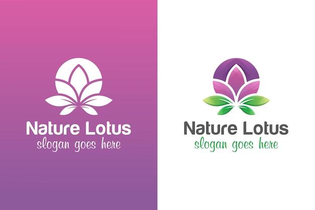 두 가지 버전으로 꽃 로터스 로고 디자인 프리미엄 벡터