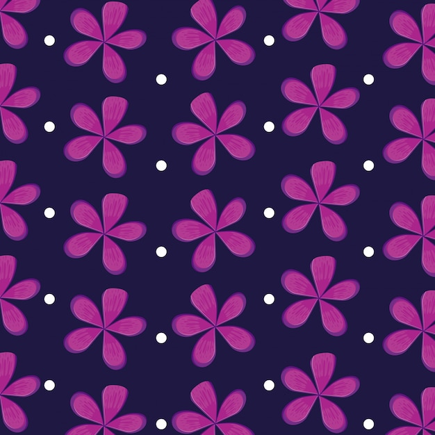 Flowers natural icons pattern Premium Vector