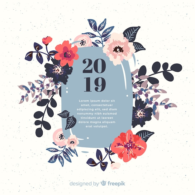 flowers new year 2019 background free vector