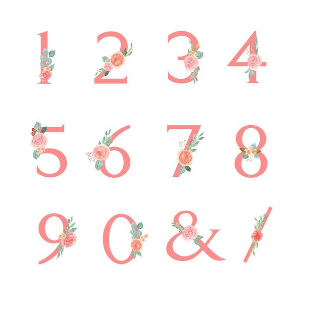 Flowers number serif font typographic Free Vector