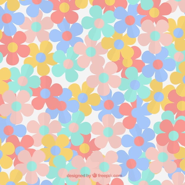 Flowers pattern in soft colors Free Vector