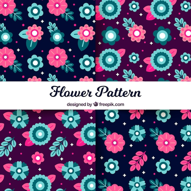 Flowers patterns collection in flat\ style