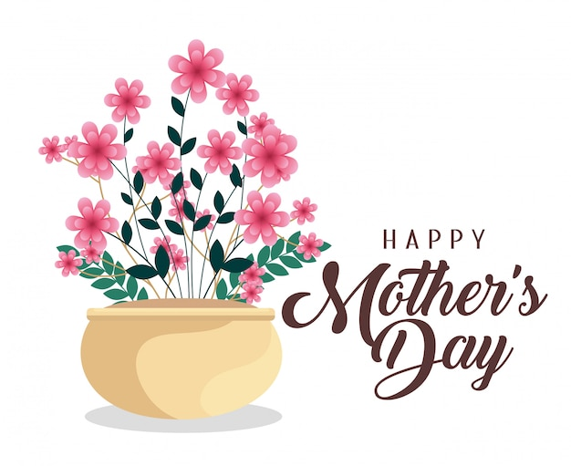 Flowers plants to happy mothers day celebration Free Vector