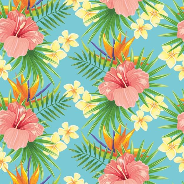 花のシームレスなパターン。スタイリッシュな春の花、熱帯植物の葉、花の装飾的なタイルの背景 Premiumベクター