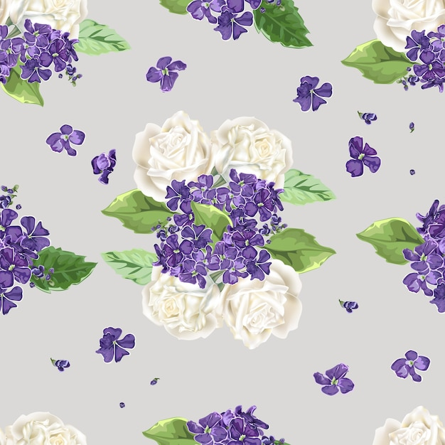 Flowers seamless patternwhite roses and purple flowers vector flowers seamless patternwhite roses and purple flowers premium vector mightylinksfo