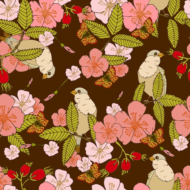 Flowers seamless pattern Free Vector