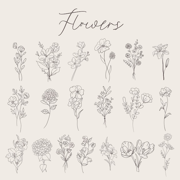 Flowers set collection Premium Vector