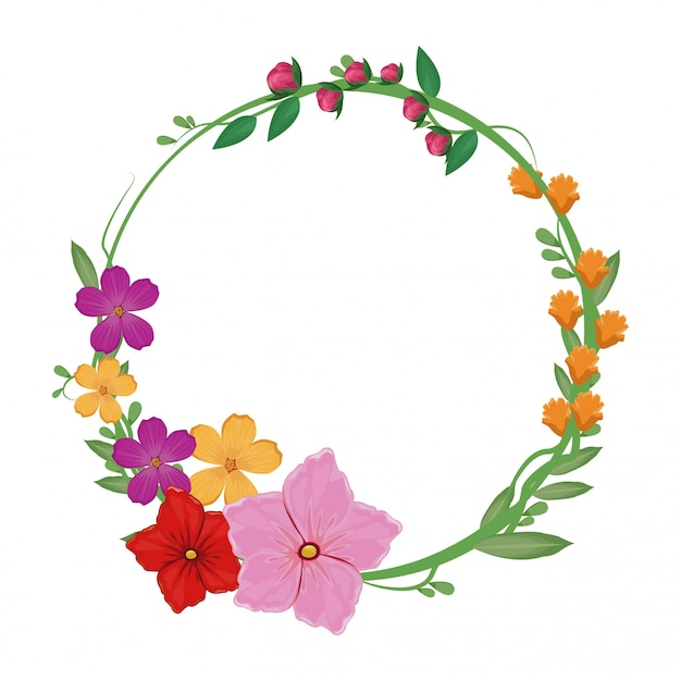 Flowers spring crown decoration Premium Vector