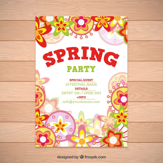 Flowers Spring Party Flyer Vector | Free Download
