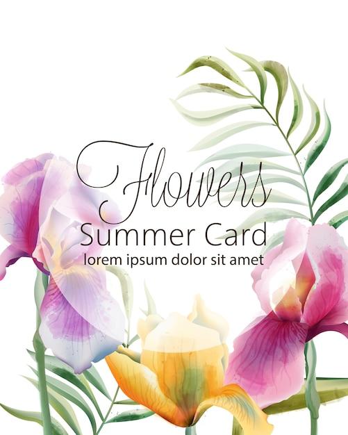 Цветы летняя карта с местом для текста. цветы ириса и тропические листья Бесплатные векторы