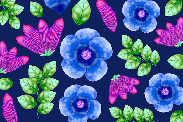 Flowers and tropic leaves seamless pattern Free Vector