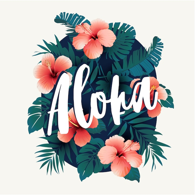 Flowers and tropical green jungle tree palm leaves. Premium Vector