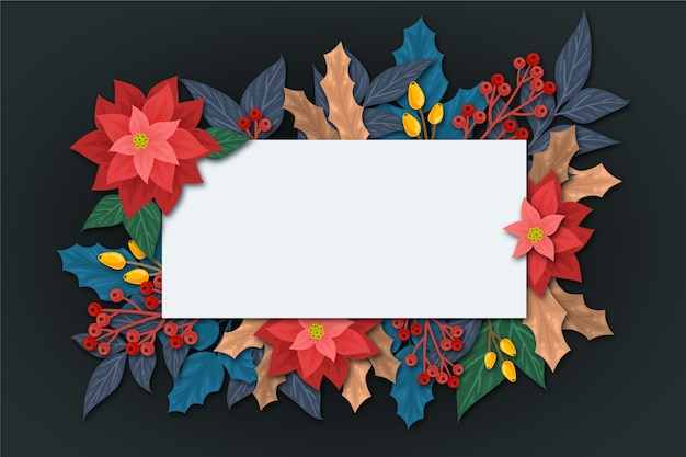 Flowers for winter with empty banner Free Vector