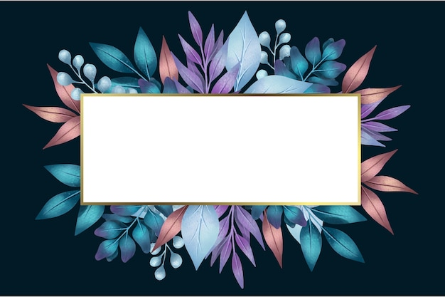 Flowers with empty banner in geometrical shape Free Vector