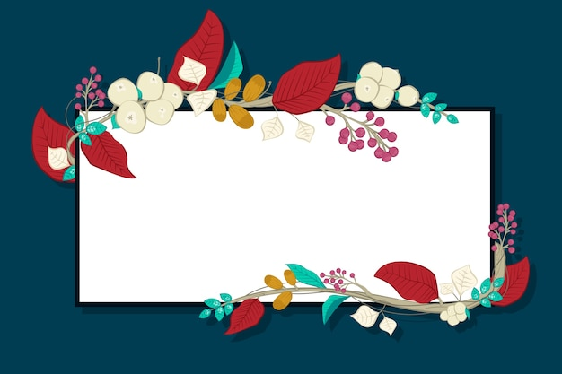 Flowers with empty banner Free Vector