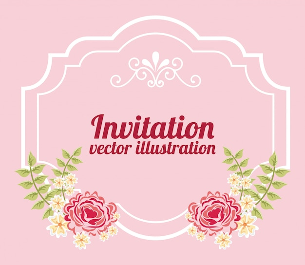 Flowers with frame over pink invitation template Free Vector
