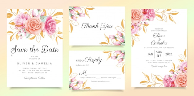 Flowers with glitter leaves wedding invitation card template set Premium Vector