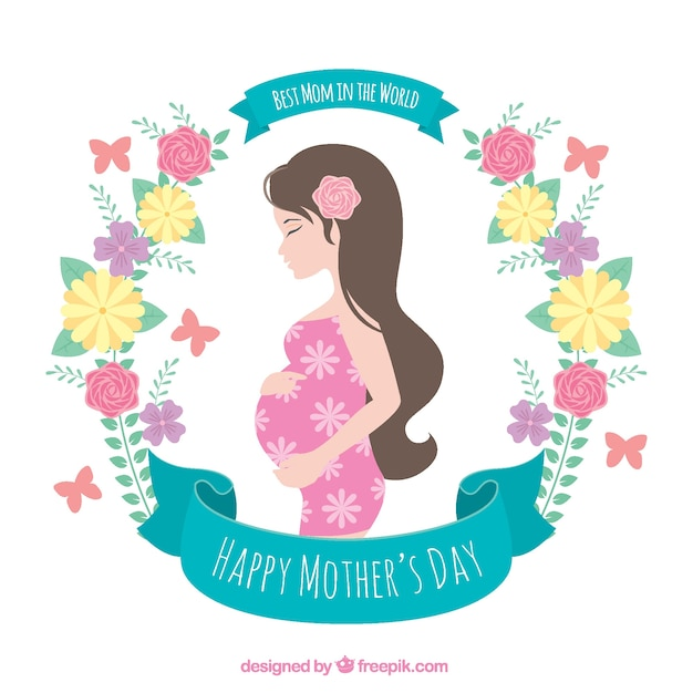 Flowery background of pregnant woman Free Vector
