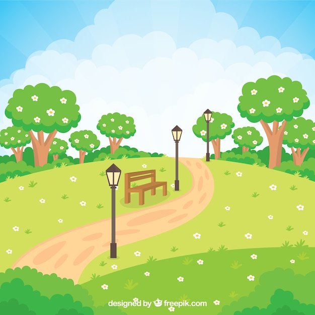 Flowery garden with a bench Vector