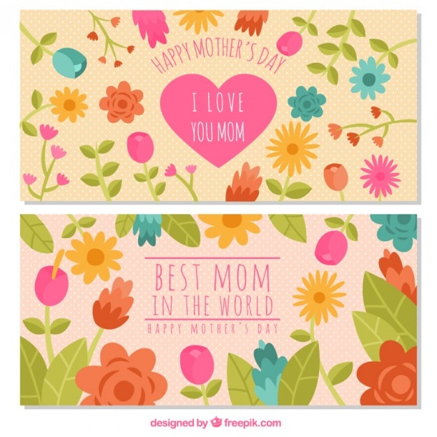 Flowery mother\'s day banners