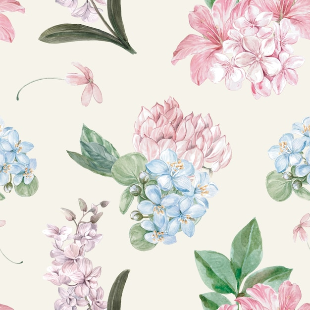 Flowery pattern in watercolor style Free Vector