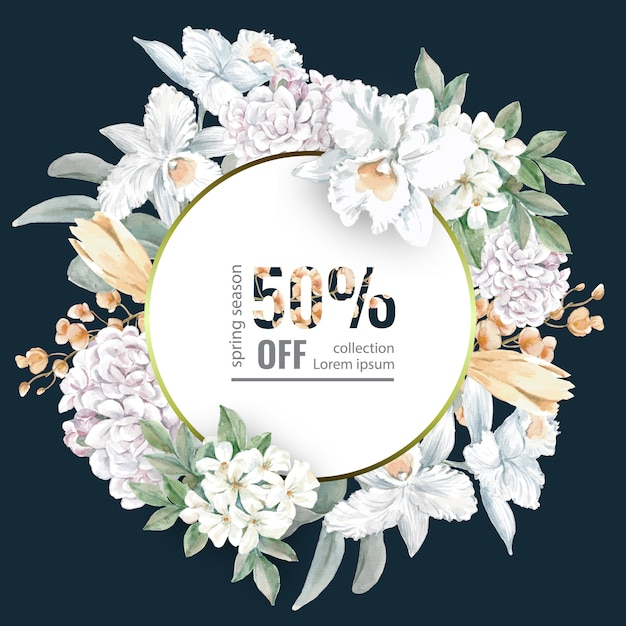 Flowery sale flyer for spring shopping Free Vector