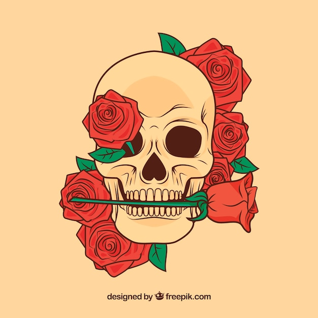 Flowery skull with a rose in the mouth Free Vector
