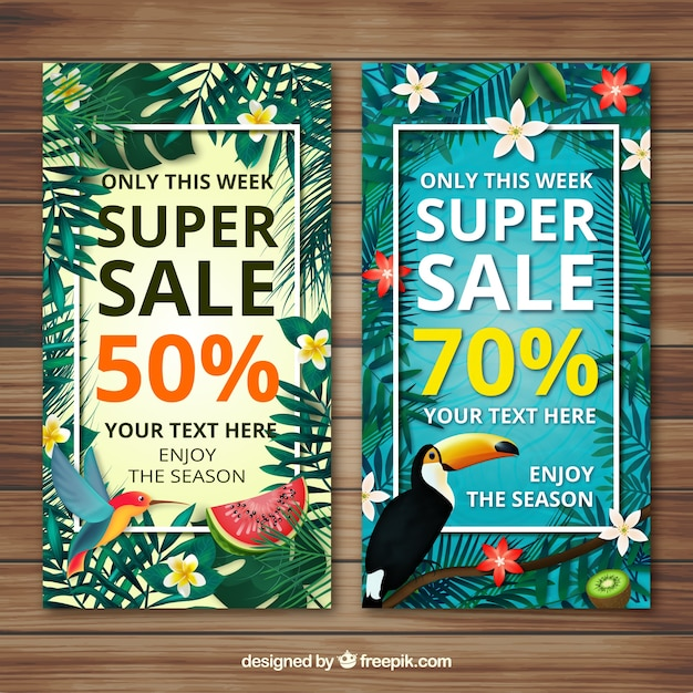 Flowery summer sale banners