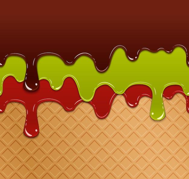 Marmellata di bacche che scorre, gelatina verde e cioccolato sul modello senza cuciture di struttura del gelato della cialda. dolciumi deliziosi, colazione fresca multicolore, Vettore gratuito