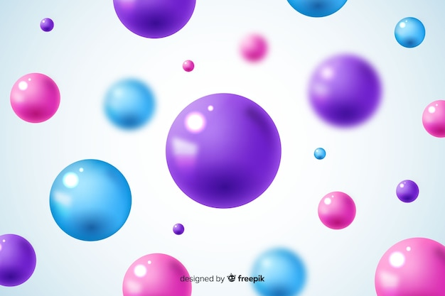Flowing glossy balls background Free Vector