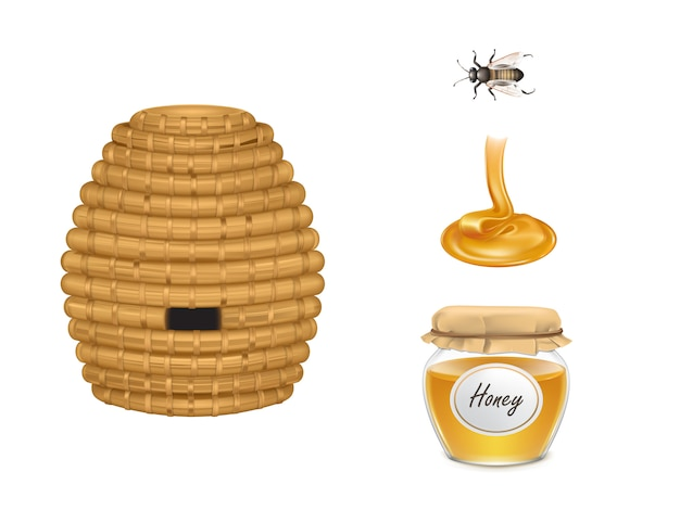 Flowing honey, glass jar with fabric cover, beehive and bee insect Free Vector