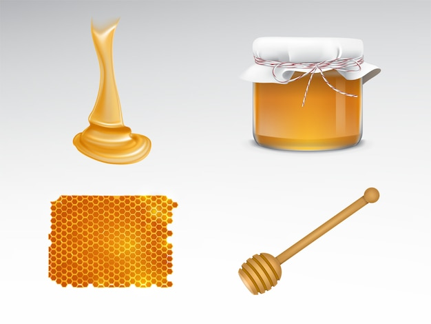 Flowing honey, glass jar with fabric cover, honeycomb, wooden dipper Free Vector