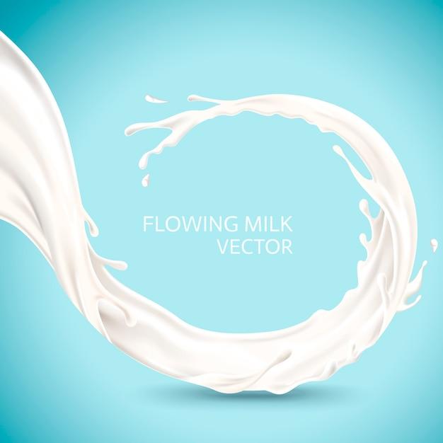 Ảnh vector dòng sữa trắng chảy cuộn trên nền xanh