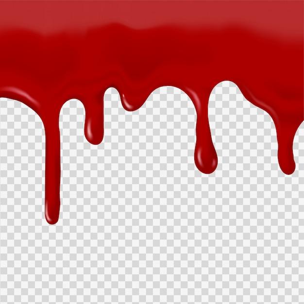 Струя красной крови на прозрачном фоне Premium векторы