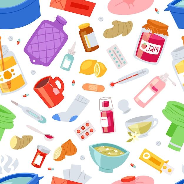 Грипп больной характер с лихорадкой и болезнью и чиханием носа иллюстрации набор признаков болезни и медицинского лечения с лекарствами бесшовный фон фон Premium векторы