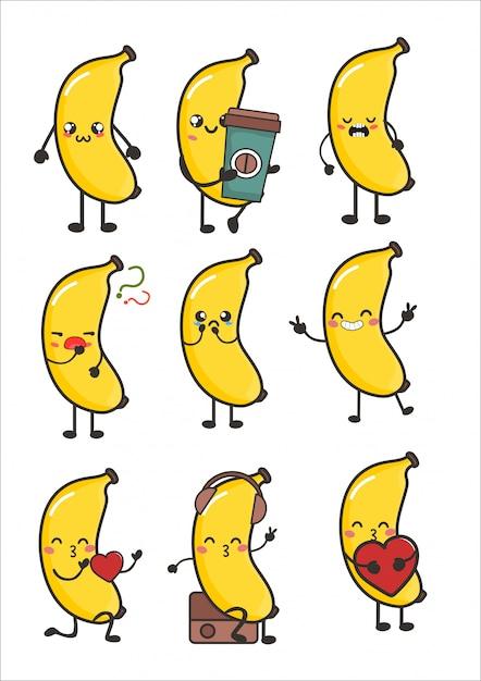 Пушистый банан каваи эмоции фруктовые эмоции Premium векторы